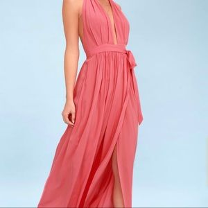 LuLus Coral Pink Maxi Wrap Dress 🌺